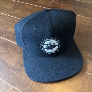 Black Military Helicopter Patch Hat